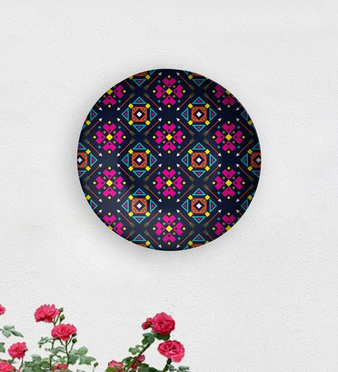 Blue Rotary Ceramic Decorative Wall Plate By Quirk India
