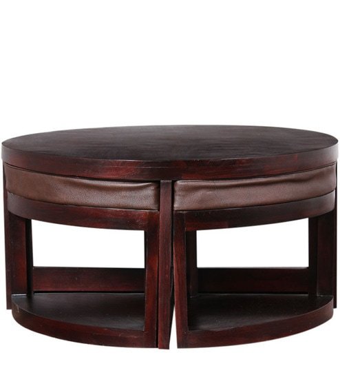 Detroit Sheesham Wood Coffee Table With Four Stools In Pion Mahogany Finish By Woodsworth