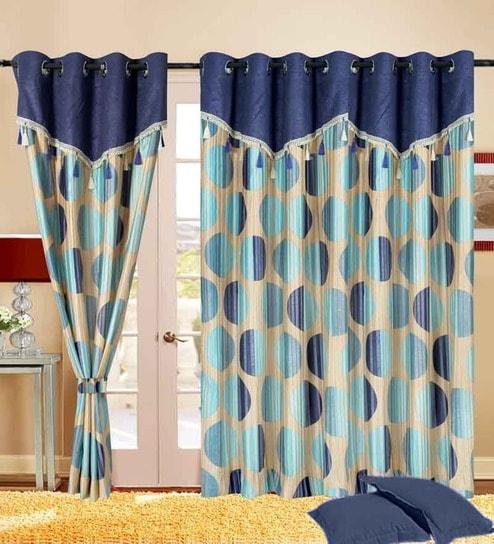 Cortina Round Drape Blue Polyester 84x44 INCH Eyelet Wall Curtain