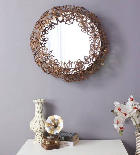 Round Spring Flower Metal Glass Wall Mirror In Gold Color By Artelier
