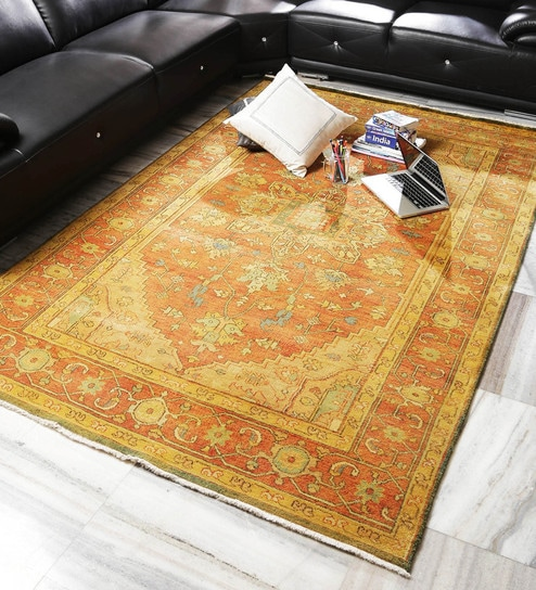 Royal Art Collection Rust New Zealand Hand Spun Wool 102 X 58 Inch Knotted Floor