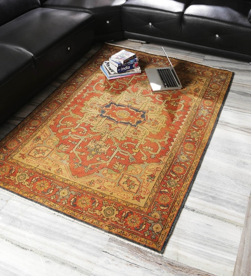 Royal Art Collection Rust New Zealand Hand Spun Wool 99 X 63 Inch Knotted Floor