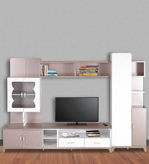 Buy Royal Wall Entertainment Unit in Glossy Peach & Pearl Finish by ...