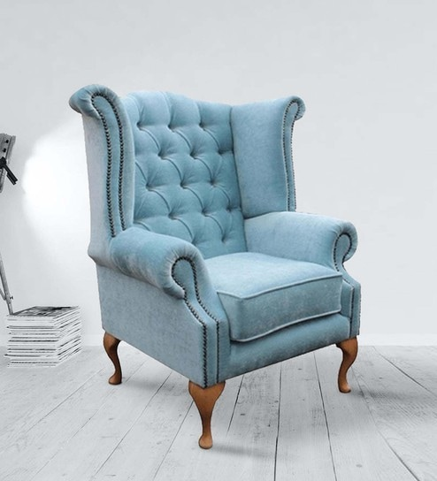 Buy Royal Wing Chair in Blue Color By Dreamzz Furniture Online ...