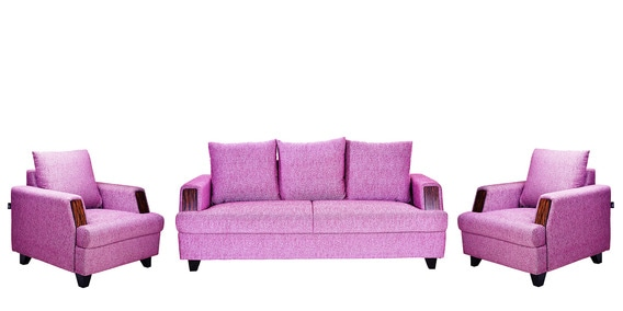 Roman Reverie 3 +1+1 Seater Sofa Set in Purple colour by ...