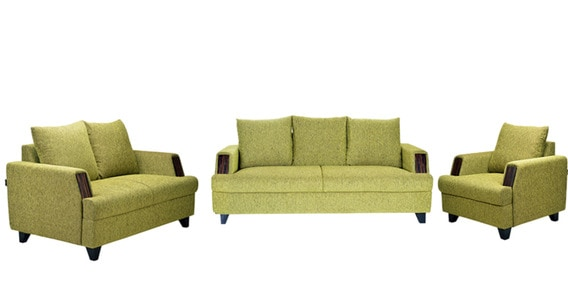 Roman Reverie 3 2 1 Seater Sofa Set In Green Colour By Furniturekraft