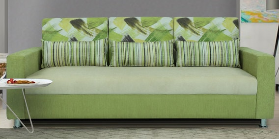 Buy Rosetta Three Seater Sofa With Cushions In Green Cream Colour