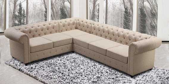 Corner Sectional Sofa With Tufted Back