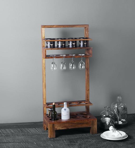 Roch Bar Rack In Teak Finish By, Wine Cabinet Bar Furniture