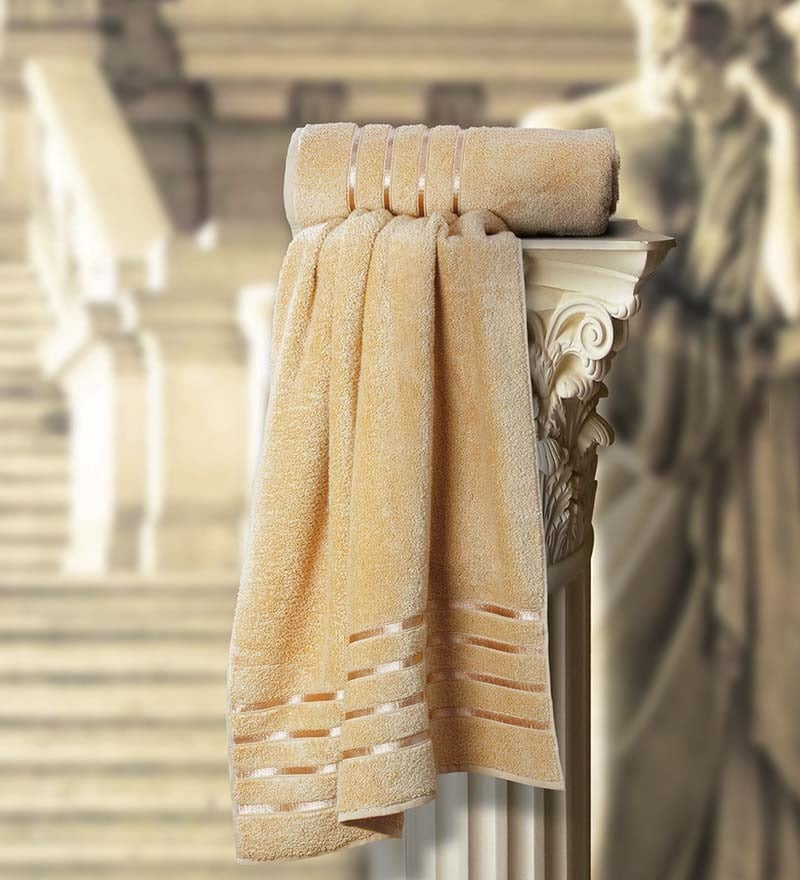 Roman Beige Cotton Bath Towel by Spread