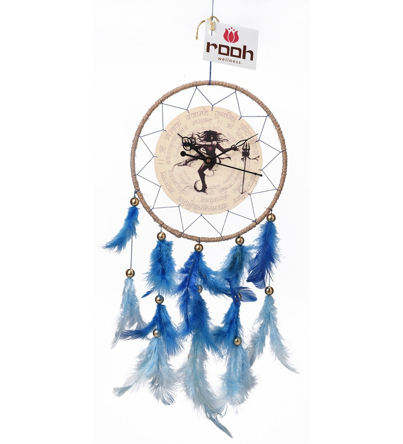 Multicolour Wool and Feather Shiva Neelkanth Dream Catcher Clock by Rooh Dream Catchers