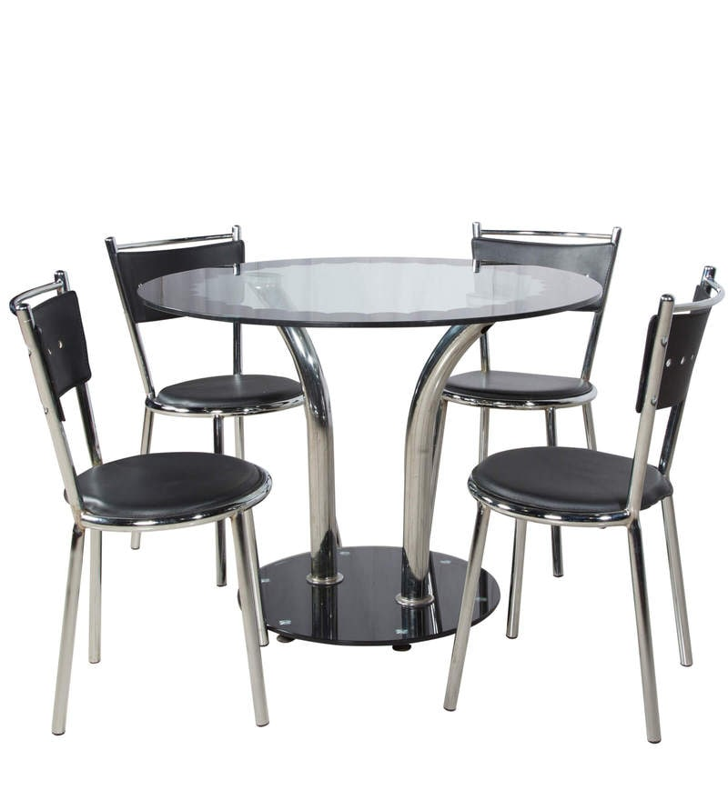 Round Glass Top Four Seater Dining Set, Round Glass Top Dining Table With 4 Chairs