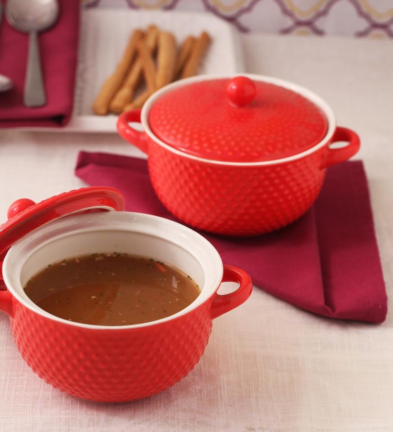 Royal Red Ceramic 600 ML Bowl with Lid Set