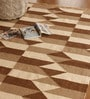 Beige and brown Wool 91 x 63 Inch Geometric Pattern Area Rug by The Rug Republic