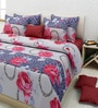 Blue Cotton Floral Double Bed Sheet Set (with Pillow Covers) by Rosepetal