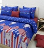 Rosepetal Abstract King-Size Cotton Bedsheet in Blue with Pillow Covers