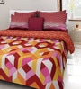 Rosepetal Maroon & Yellow Cotton Octagonal Geometric Printed 100 x 90 Inch Bed Sheet (with Pillow Covers)