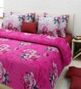 Rosepetal Pink Cotton Floral Double Bed Sheet Set (with Pillow Covers)