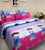 Rosepetal Multicolor Abstract King-Size Cotton Bedsheet with Pillow Covers