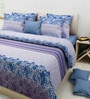 Rosepetal Purple Poly Cotton Floral Double Bed Sheet Set (with Pillow Covers)