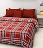 Rosepetal Light & Dark Red Acrylic Checks 95 x 85 Inch Double Bed Blanket