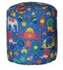 Round Footstool with Beans in Blue Indian Pattern by Sattva