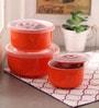 Royal Premium Orange Ceramic Bowl Set with Lid - Set of 3