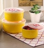 Royal Premium Yellow Ceramic Bowl Set with Lid - Set of 3