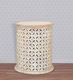 Rusk End Table in Ash White Colour