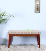 Ellsworth Rust Brown Upholstered Bench in Honey Oak Finish