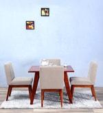 Ellsworth Rust Brown Upholstered Four Seater Dining Set in Honey Oak Finish