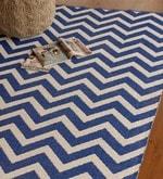 Blue & White PVC 91 x 63 Inch Area Rug