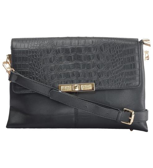e9687b903192 Buy RUBY Stylish Sling Black PU Flap Ladies Hand Bag Online ...