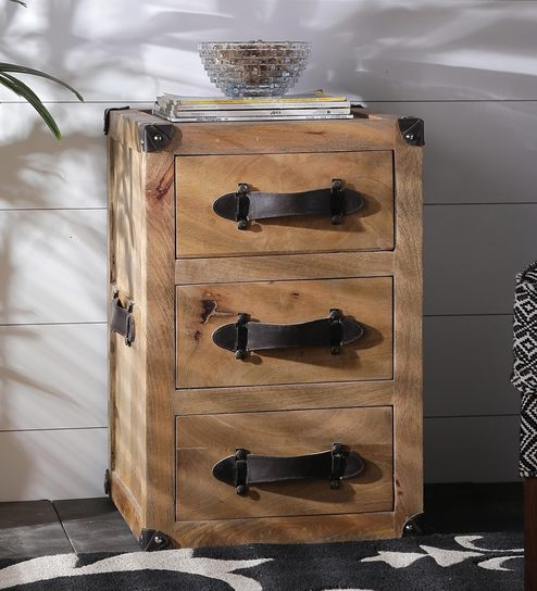 Buy rustic bedside table with leather handle on drawers by asian rustic bedside table with leather handle on drawers by asian arts watchthetrailerfo