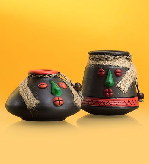 34c0e25f4 Buy Rustic Stone Black Terracotta  Tribal Rustic Pot-Faces  Show Pieces by  Exclusivelane - Set of 2 Online - Decorative Pots   Jars - Decorative Pots    Jars ...