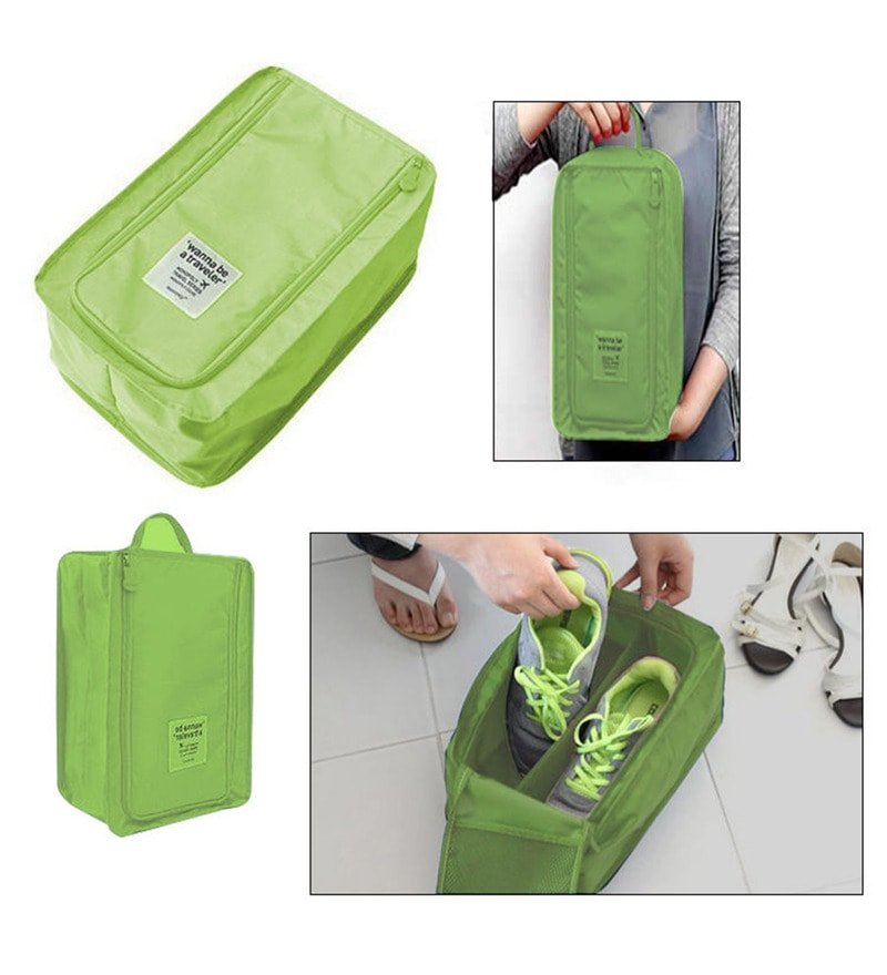 RUBY Waterproof Green Nylon Travel Shoe Bag