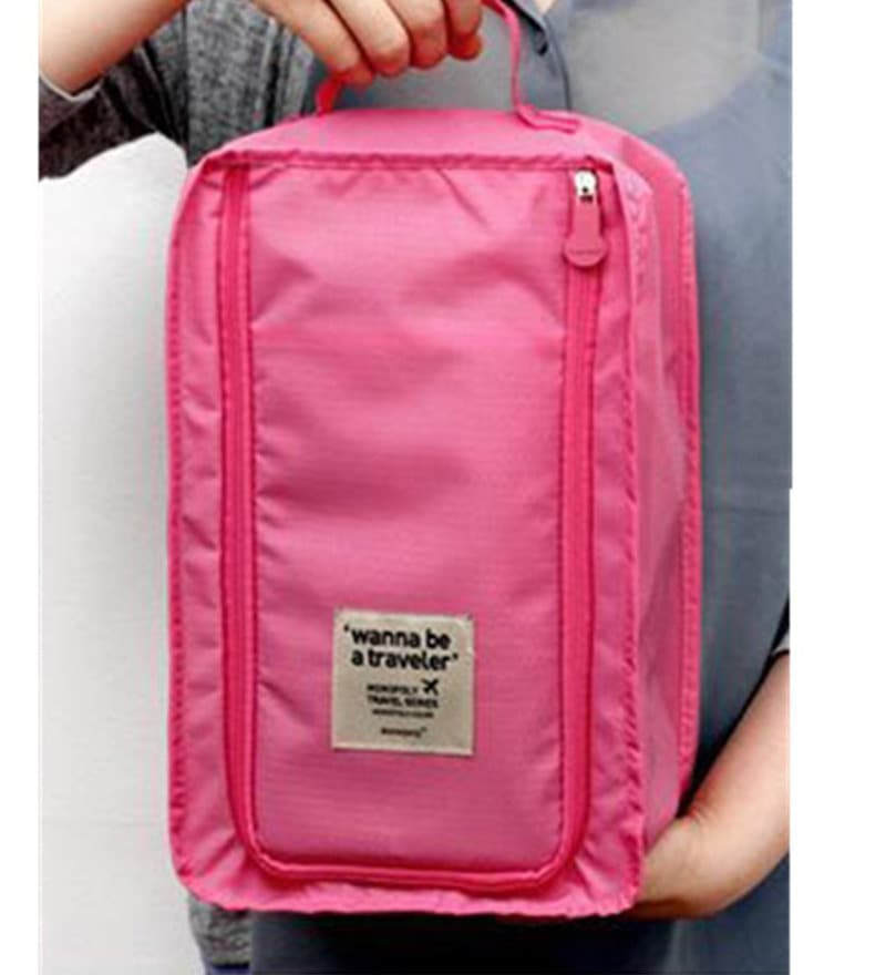 RUBY Waterproof Nylon Pink Travel Shoe Bag