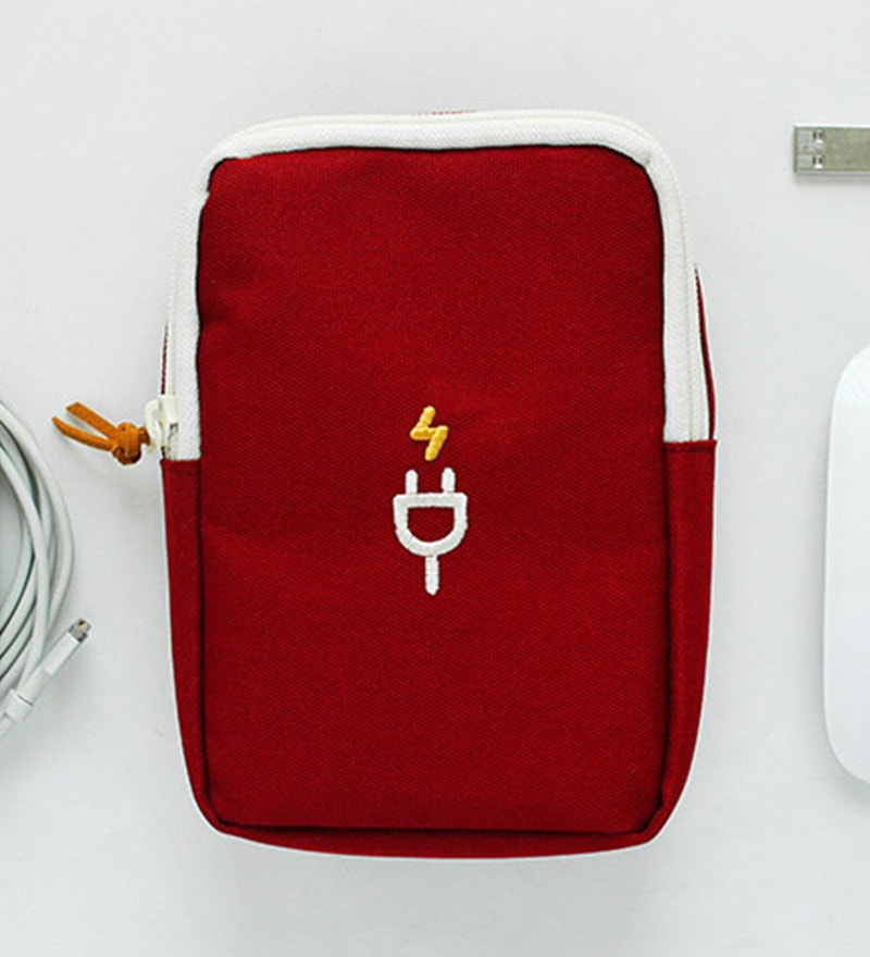 Ruby Size L Polyester Maroon Charger & Aux. Battery Pouch Travel Organizer Bag