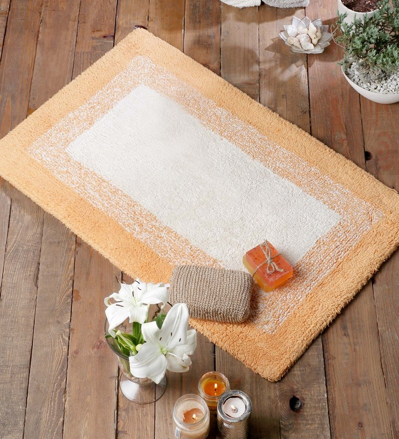 Orange Cotton 20 x 31 Bath Mat - 1 Pc by Rugs to Clear