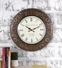 Multicolour Metal & MDF 17.5 Inch Round Blooming Flowers Wall Clock by Rural Craft