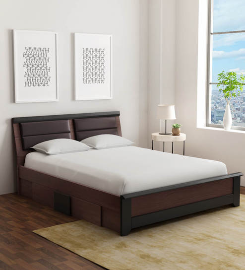 Buy Ryouta Queen Size Bed With Drawer Storage In Wenge Finish By