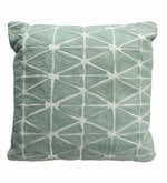 Aqua Cotton 17 x 17 Inch Embroidery Cushion with Filler