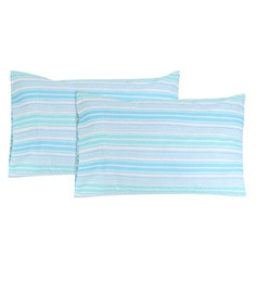 S9Home By Seasons Blue & White 100% Cotton 18 X 27 Inch Pinted Stripe Pillow Cover - Set Of 2
