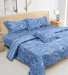 S9Home By Seasons Blue 100% Cotton 108 X 108 Inch Printed Bedding Set