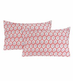 S9Home By Seasons Brick & White 100% Cotton 20 X 30 Inch Printed Pillow Cover - Set Of 2