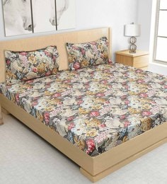 S9home By Seasons Coal Cotton Printed Bed Sheet With Matching Pillow Covers