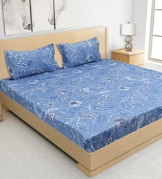 S9home By Seasons Blue Cotton Printed Bed Sheet With Matching Pillow Covers