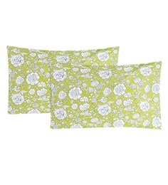 S9Home By Seasons Green & White 100% Cotton 20 X 30 Inch Printed Pillow Cover - Set Of 2