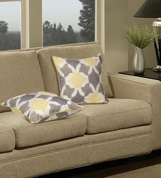 S9Home By Seasons Yellow & Beige Polyester 16 X 16 Inch Abstract Cushion Cover - Set Of 2
