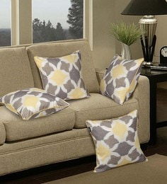 S9Home By Seasons Yellow & Beige Polyester 16 X 16 Inch Abstract Cushion Cover - Set Of 4
